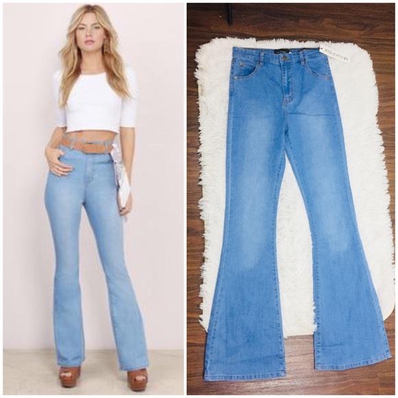 MINKPINK Dangerous High Waist Bell Bottom Jeans b9bc213d0